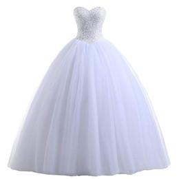 robe de soirée en dentelle bleu pastel Promotion Perlée Bustier Tulle Robe De Mariage Robe De Mariée Blanc Ivoire Longueur De Plancher Robes De Mariée Nouvelles Robes De Mariage