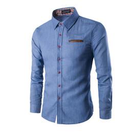 5857b81d96f9e8e YJSFG HOUSE Модные мужские рубашки Smart Casual Shirt Карманная кожа с  длинным рукавом Slim Fit Мужские рубашки Хлопок Мужчины Плюс Размер Топы  Тройник