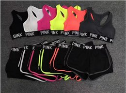 Wholesale sequin short bra - PINK Tracksuit Women Bras Set Summer Sport Wear Yoga Suit Fitness Shorts Gym Crop Top Vest Pants Running Underwear Sets Runner Outfits