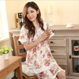 Cotton Women Pajamas Sets Summer Home Printing Flower Cute Loose sleepwear  Short-Sleeve Tee Top Hot Shorts Suit Plus Size 42a06aacf