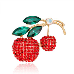Wholesale Fruit Crystals - Pin Crystal Jewelry Alloy Cherry Diamond Brooch Spot Wholesale Cute Fruit Brooch Retro Gold Brooch Female Fashion Jewelry Temperament Women