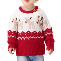 7d9f804c8c66 Winter-Weihnachtswarmer Säuglingsbaby-Mädchen-Weihnachtselch-Pullover-lange  Hülsen-Strickjacke günstig elch pullover