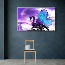 Cadeaux violets uniques en Ligne-DIY 5D Mosaïque Diamant Peinture Kits Poche Circulaire Pourpre Flying Dragon Dinosaur Broderie Point De Croix Arts Artisanat Cadeaux 21lf bb