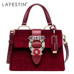 2019 weiße pelzhandtaschen LAFESTIN Frauen Handtasche Umhängetasche Designer Lock Diamonds Berühmte Velvet Luxury Totes Multifunktionstasche 2018 Neue Marken bolsa