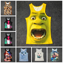 Wholesale Shorts Tank - New Summer 3D Print Colored Tiger Vest Men Novelty O-neck Tank Tops fashion summer vest GGA289 10PCS