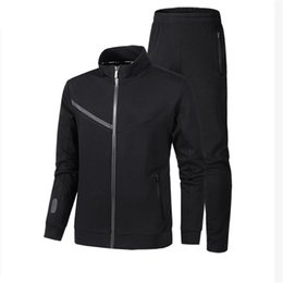 Wholesale 2xl Mens Casual Zip Jackets - Brand Designer Luxury Mens Tracksuits New Fashion Spring Autumn Zipper Jacket+Pant Suit Sports Sets Black Grey High Quality Plus Size