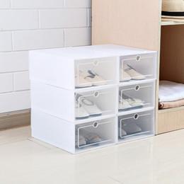 Scarpe in plastica trasparente online-6PCS / Set di scarpe di vibrazione addensate Cassetto trasparente Custodia di plastica Scatole di scarpe Impilabile scatola di immagazzinaggio scarpa organizzatore di immagazzinaggio