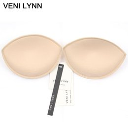 Wholesale Foam Bras - VENI LYNN Foam Breast Enhancers Push Up Bra Pads Gather Together Bra Inserts Create More Cleavage With Beads For Swimsuit Bikini