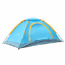 Кемпинговая палатка онлайн-Camping Outdoor 1-2 Person Durable Waterproof Camping Aluminum Tent High Quality Tent 210D oxford fabric Backer