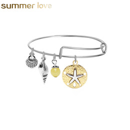 fil de mer Promotion Bracelets amoureux de la mode faits avec amour coeur mignonne Apple Sea Snail Charms Bracelet extensible Bracelet pour femmes enfants de Noël Ne