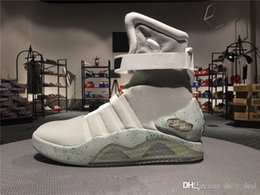 Wholesale Mag Shoes - Limited Edition Air Mag Back To The Future Glow In The Dark Gray Sneakers Marty McFly's LED Shoes Black Mag Marty McFlys Boots With Box