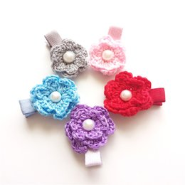 Wholesale frosting hair clip - 20pcs Lot Adorable Crochet Flower Hair Clips Back To School Gift Pink Flower Girl Barrette Frosted Grey Solid Hairpin Red Grips