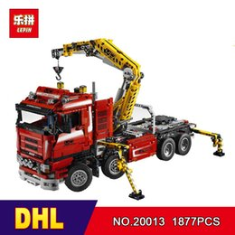 Wholesale Crane Electric - DHL Lepin 20013 1877pcs Technic Ultimate Mechanical Series The Electric Crane Truck Set Building Blocks Bricks Funny Gifts Toys