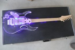 Wholesale guitar string case - Free shipping! guitar electric guitarra 6 string Jm7 acrylic body and neck with led light chinOKe electric guitars no CASE