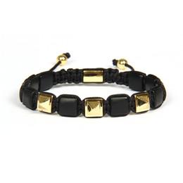 Wholesale Pyramid Chains - Ailatu Brand Wholesale Men's Jewelry Micro Pave CZ Pyramid with Matte Onyx Flat Bead Macrame Power Bracelet Men Gift