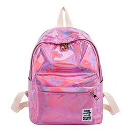 Сумки из пвх маленькие онлайн-Women Laser Hologram PVC Backpacks Girls Shoulder School Backpack Female Small Leather Holographic Travel Bag  Feminina