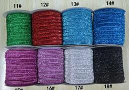 Jardas de fita elástica on-line-CHEGADA NOVA 3/8 '' (10mm) Glitter Velvet Ribbon / fita de veludo metálico, 50 jardas / cor. 18 cores podem opção (sem elástico).