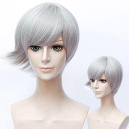 Wholesale gray short cosplay wigs - 30cm Silver Gray Short Wavy Hair for Houseki no Kuni Euclase Cosplay Wig Anime