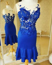 eleganter abend kurzes blaues kleid Rabatt Illusion Short Skirt Mantel  Royal Blue Short Sleeves Abendkleider Applique d5b31101b8