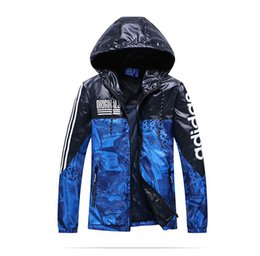 Wholesale fashion print ads - Men Jacket Designer Jackets Windbreaker New Fashion Hooded Fashion Tide Hooded Coat AD Grass Print Woven Wide-waisted Spring Autumn