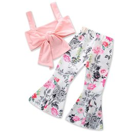 244350a1a25 Kids Clothing Set Tube Top Vintage Floral Flare Pants Fashion Summer  Children Clothes Girls Casual Outfits