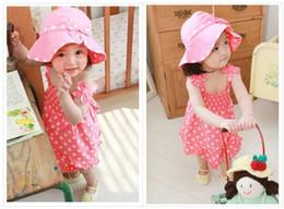 Wholesale Kids Sun Dresses - Summer baby girl surf clothing to suit kids girls beach sun hat little dress set 3-pcs