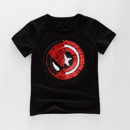 Wholesale Childrens Animal T Shirts - Childrens Boys Sequined T Shirt Short Sleeved Pattern Variable Cartoon Cotton Tops Star Squins For 2-6T YL85