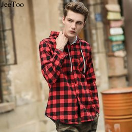 Wholesale Hooded Plaid Shirt Men - JeeToo New Red And Black Plaid Mens Shirt Long Sleeve Casual Men Shirts British Style Hooded Collar Chemise Homme Camisa Xadrez