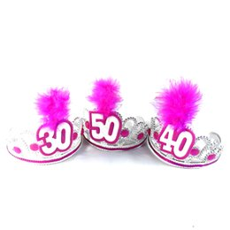 Wholesale Tiara Supplies Wholesale - Birthday party tiara pink white feather 50% off if buy 3pcs hair accessories fun adult souvenirs event party supplies