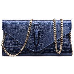 c89d369f9b589 damen leder blau taschen Rabatt Mode Handtaschen Frauen 2017 Neue  Handtaschen Leder Kette Lange Schwarz Blau