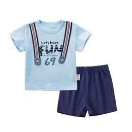roupas de moda Desconto 2018 roupas infantis de verão roupas de bebê de algodão moda masculina calças de bebê 1-3 anos de idade menino de duas peças terno