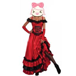doncella de goma Rebajas Venta al por mayor de moda para mujer Red Saloon chica traje occidental para mujer traje disfraces de Halloween para mujer sexy