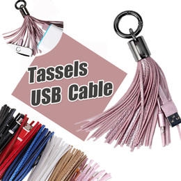 Wholesale Line Leather Cord - Leather Tassels Charging Data Cable Portable Key Ring Micro USB Short Bag Decoration Chain Sync Quick Charger Cords Line For Samsung HTC