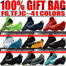 Wholesale Leather Turf Soccer Shoes - Original New High Ankle Top Football Boots Hypervenom Phantom III DF FG ACC Soccer Cleats HypervenomX Proximo TF IC Indoor Soccer Shoes Turf