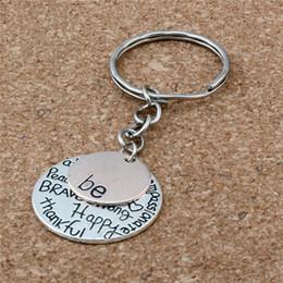 """Glückliche ringe online-MIC 30pcs DIY Zusatz-Material-Zink-Legierung """"ist"""" Graffiti-glücklicher starker dankbarer Charme-Band-Kettenschlüsselring"""