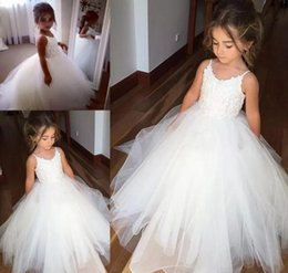 Wholesale Cheap Pageant Gowns For Children - Cheap Spaghetti Lace And Tulle Flower Girl Dresses For Wedding White Ball Gown Princess Girls Pageant Gowns Children Kids Communion Dress