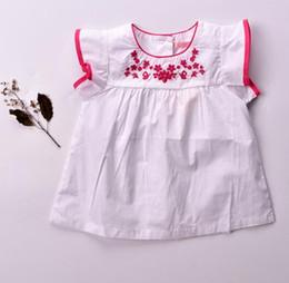 Canada bébé fille cloter été fille chemise col rond broderie florale chemise à manches courtes enfants fille décontracté élégant t-shirt 2 couleurs cheap elegant summer shirts Offre