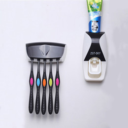 Wholesale family bathrooms - 1set Fashion Automatic Toothpaste Dispenser Family Holder 5 Toothbrush Bathroom Household Wall Mount Stand Bathroom Tools