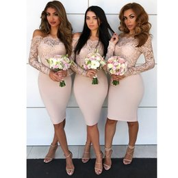 Wholesale modest knee length gowns - Modest Long Sleeves Wedding Bridesmaid Dresses Arabic 2018 Mermaid Off Shoulders Knee Length Maid of Honor Gowns Appliques Wedding Reception