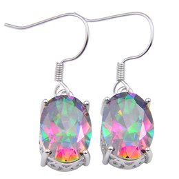 mystic topaz dangle earrings Coupons - 10Prs Luckyshine Fire Oval Rainbow Mystic Topaz Gems Silver Dangle Earrings for Holiday Wedding Party