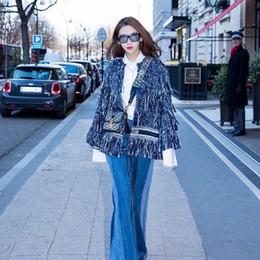 2019 пейсли рукав куртка 2018 женские куртки модный бренд дизайнер куртки стильный шерстяные смесь верхняя одежда кисточкой взлетно-посадочной полосы куртка большой размер куртки синий XL