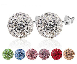 Wholesale Round Silver Ball Earring - mix 12 colors Sparkle Round Swarovski Crystal Ball Stud Earrings for Wedding Party 6mm 8mm 10mm 12mm 24 Pairs lot Mark 925