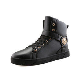 Wholesale korean men fashion black boots - PP FASHION Men's Korean Style High Top Fashion Sneakers Basketball PU Leather Gym Training Running Stylish Casual Shoes Boots