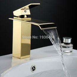 Altın Banyo Musluk Kare Şelale Musluk Sıcak ve Soğuk Cihaz Musluk Cilalı Altın Banyo Havzası Evye Mikser Dokunun G1094 cheap gold bathroom taps mixers nereden altın banyo musluklar karıştırıcılar tedarikçiler