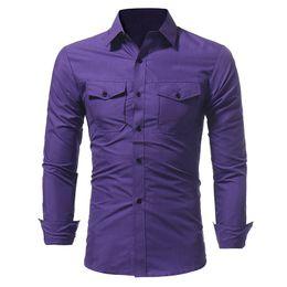 2019 camisas de bolso duplo homens MIXCUBIC 2017 Outono roxo Clássico bolso duplo camisas de mangas compridas homens casuais slim fit camisas de cor sólida para homens, tamanho M-3XL camisas de bolso duplo homens barato