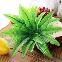 Wholesale green design wall - Originality Design Office Home Decorations Artificial Foliage Health Life Plastic Placement Simulation Green Leaf For Wedding 2 4ct X