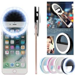 2019 luces de flash de la cámara La cámara recargable del clip de destello del anillo LED de la luz de Selfie para los teléfonos de HTC Samsung del iPhone con la caja al por menor luces de flash de la cámara baratos