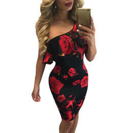 b245818bb63b floral midi dress red Coupons - Women Sexy One Shoulder Dresses Print Summer  Vintage Women Party