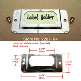 Wholesale Ironing Label - 50Pcs Silvery Metal Stainless Iron Furniture Cabinet Drawer Box Case Label Pull Frame Handle Tag File Name Card Holder 31*68mm