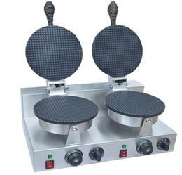 Машина конуса вафельные онлайн-Бесплатная доставка~ 110 в 220 В двойной головкой мороженое конус чайник / вафельный конус машина